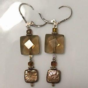 Square Smoky Topaz and Metallic Pearl Earrings